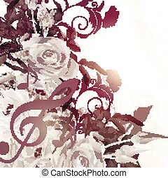 Grunge vector background with roses in vintage sepia style.eps
