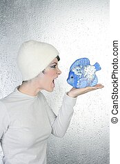enojado, futurista, Moda, mujer, grito, azul, pez
