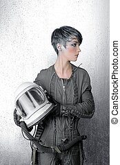 fashion silver woman spaceship astronaut helmet space...