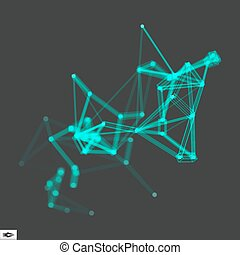 3D Connection Structure Futuristic Technology Style Vector...