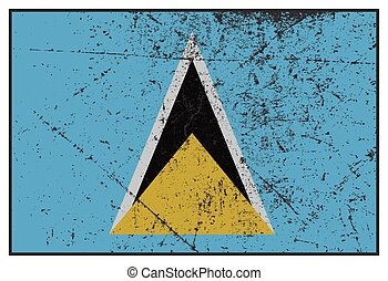 St Lucia Flag Grunged - A grunged St Lucia flag isolated on...