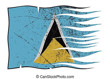 St. Lucia Flag Wavy And Grunged - A wavy and grunged St....