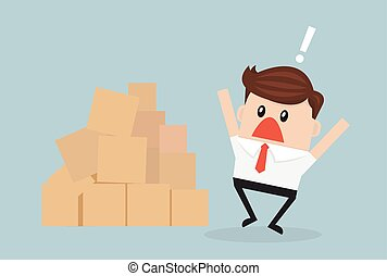 Confused cartoon african american businessman looking at large pile of cardboard boxes.