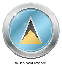 St. Lucia Flag Silver Icon - A St. Lucia flag silver icon...