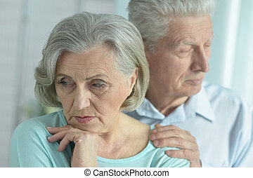 melancholy Senior couple - Portrait of a melancholy senior...