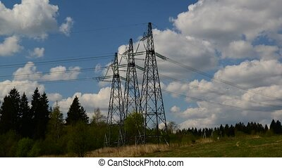 Natural landscape with power lines, taymlapse - Natural...