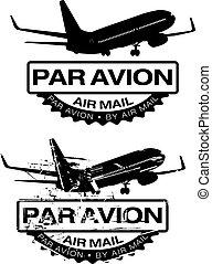 Par Avion Rubber stamp - Par Avion or air mail rubber...