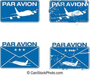 Par Avion Rubber stamp 03 - Par Avion or air mail rubber...