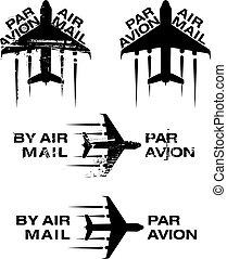 Par Avion Rubber stamp 02 - Par Avion or air mail rubber...