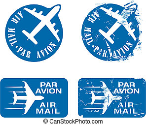 Par Avion Rubber stamp 03 - Par Avion or air mail rubber...