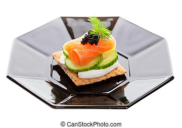 Caviar and goat cheese