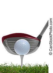 Tee shot driver - close up of a golf ball on the tee with a...