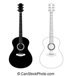 Vector silhouette and contour illustration of acoustic...