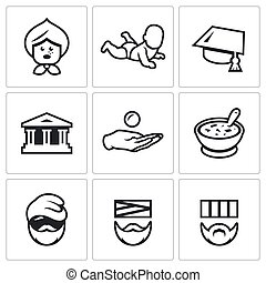 Vector Set of Social Payment Icons Pension, Child benefit,...