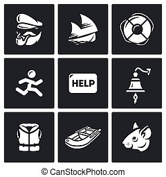Vector Set of Shipwreck Icons Captain, Ship, Rescue, Escape,...