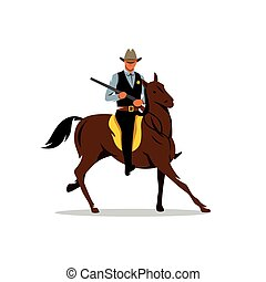 Vector Sheriff with Gun and the Horse Cartoon Illustration.