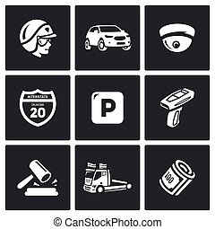 Vector Set of Road Patrol Police Icons Cop, Car, CCTV, Sign,...