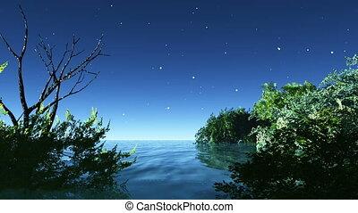 night 22 - lake under  night sky