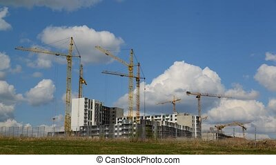 Construction multistorey apartment houses, taymlapse -...