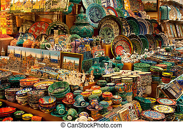 Shop selling porcelain on the Grand Bazaar - A Shop in the...