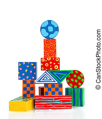 colorful wooden block building - fanciful structure