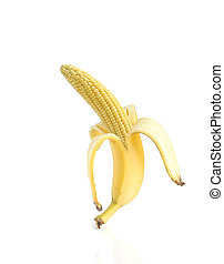 Genetically modified food - banana and corn on white...