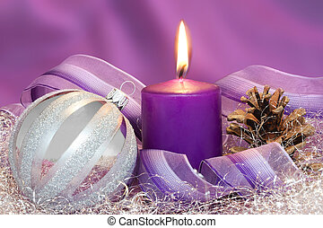 Christmas decorations - Christmas ball with burning candle...