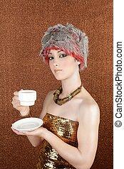 fashion futuristic silver gold coffee cup on bronze