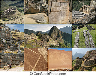 Peru landmark collage - Tourist highlights in Peru, South...