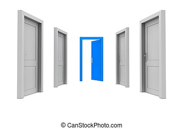 Take the Blue Door - abstract hallway with gray doors - one...