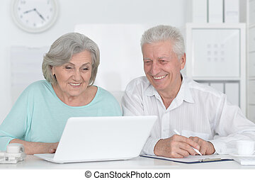 Senior couple with laptop - Portrait of a senior couple...