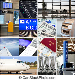 Air travel collage - Airport and travel collage