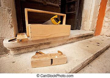 Old Wood Working Tools - Old wood working tools on stone...