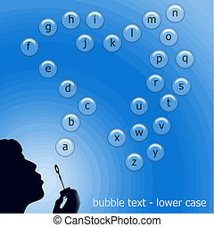bubble text vector - lower case - bubble text vector in...