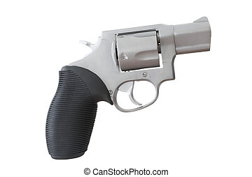 Snub nosed - Revolver with a snub nosed barrel isolated on...
