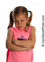 Little girl with a grumpy face and folding her arms