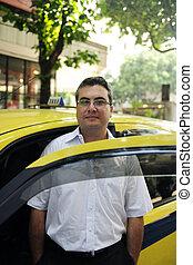 Retrato, táxi, motorista, táxi