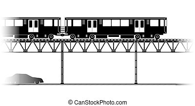 The Elevated Train in Chicago - The silhouette of Elevated...