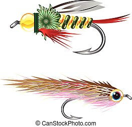 Fishing Flies lures Bug and Minnow