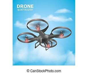 Realistic remote air drone quadrocopter flying in the sky and monitoring security. Isomertic view. Vector illustration