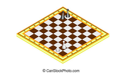 Chess-starting position. Chess board game animation. Start...