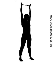 Silhouette of woman doing exercises