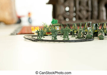 Image group of green miniatur toy soldiers