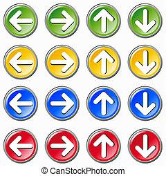 Conjunto, colorido, flechas, iconos, Whi