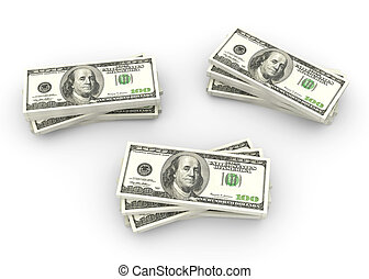 Dollar notes - 3D rendered Illustration. Stacks of 100...