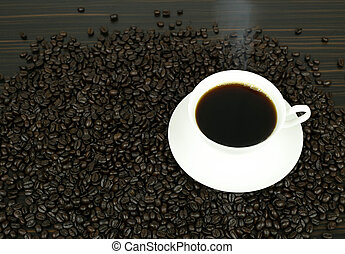 Coffee cup and beans