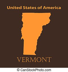 Orange Vermont map - vector illustration Simple flat map of...