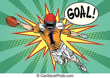 American football athlete ball goal pop art retro style....