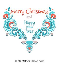 vector elk of christmas card - vector elk ornamental of...