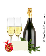 glasses of champagne, bottle, greeting card and red...